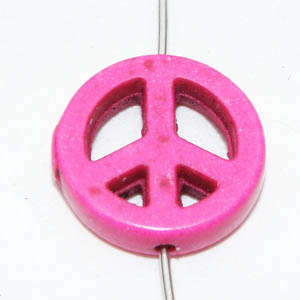 Syntetisk turkos peace-märke cerise 15 mm