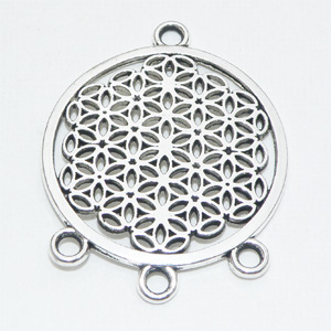 "Antiksilverfärgat connectorhänge ""Flower of Life"" 29 mm"
