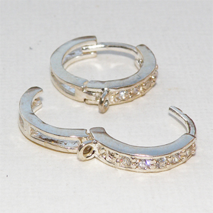Sterling silver creol med strass 13 mm