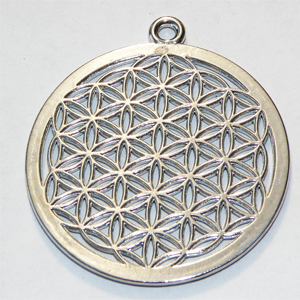 "Antiksilverfärgat hänge ""Flower of Life"" 40 mm"