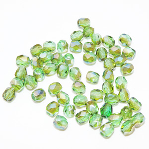 "Fire polish 4 mm facetterad ""Light peridot - Celsian"""