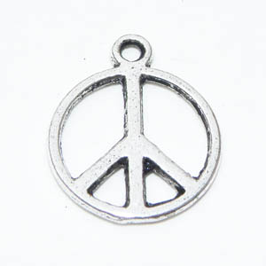 Antiksilverfärgad berlock peace 14 mm